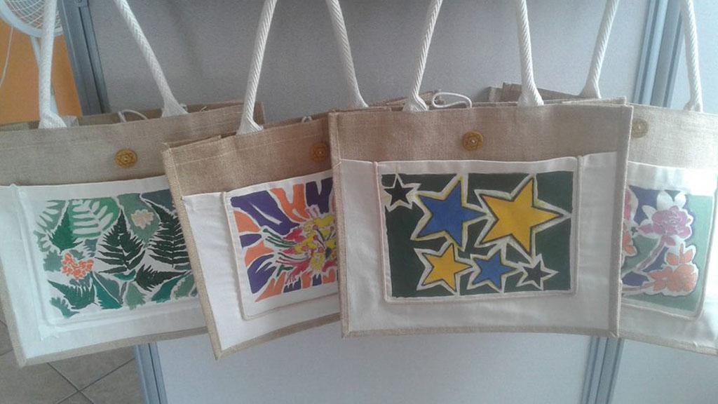 hand-painted jute tote bags